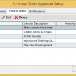 Purchase Order Approval vendor limits