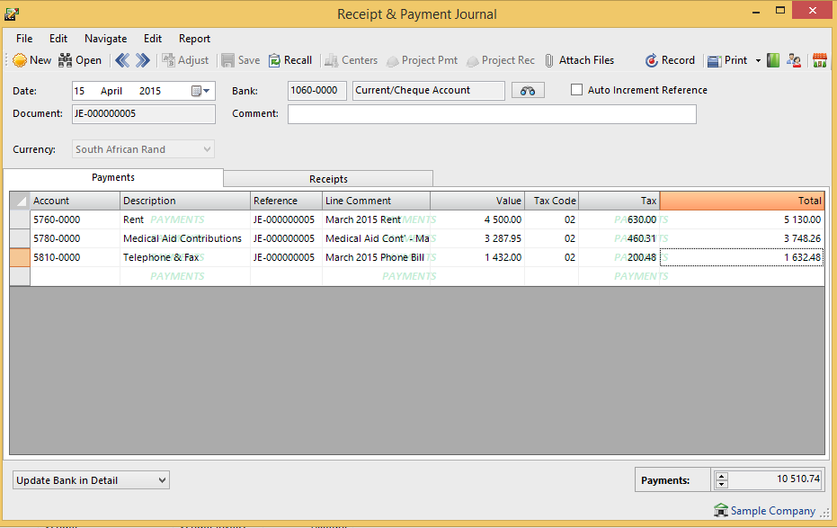 SUP202 – Tips & Tricks: Receipts and Payments Journal
